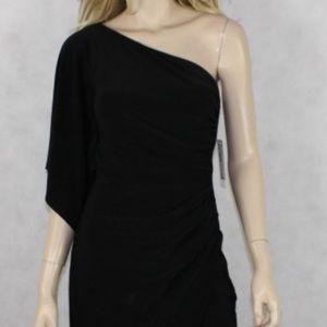 🆕NWT Bisou Bisou Sassy black one shoulder dress